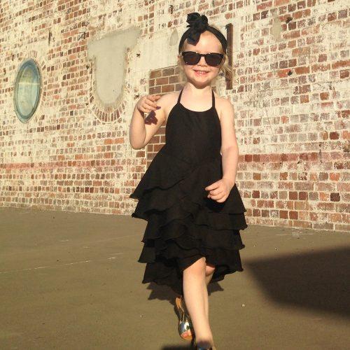 girls little black flamenco dress
