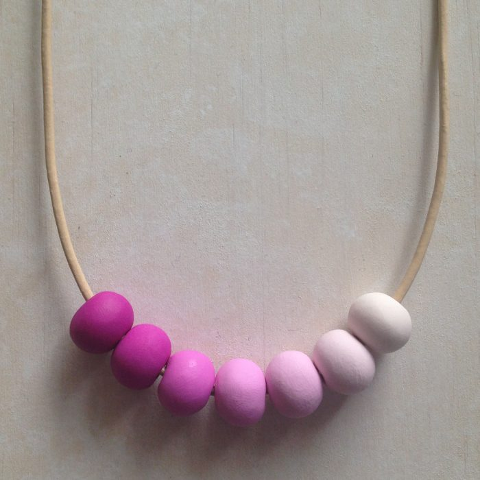 Pink Ombré Polymer Clay Necklace - girls jewellery