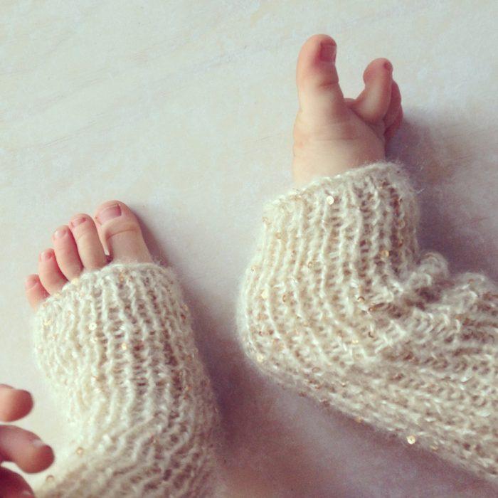 Baby girls sequinned leg warmers