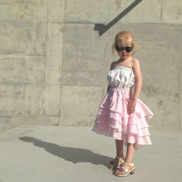 girls pink flamenco party skirt