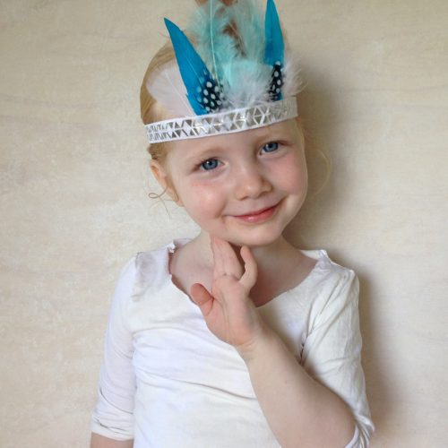 Girls Feather Crown Headdress in blue
