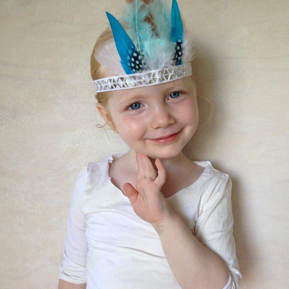 Girls Feather Crown Headdress in blue