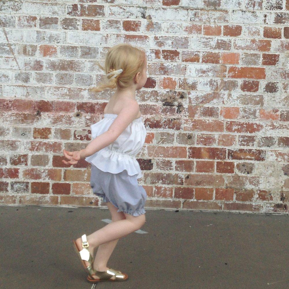 Girls strapless peasant blouse