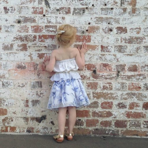 Girls French Flowers Summer Party Skirt
