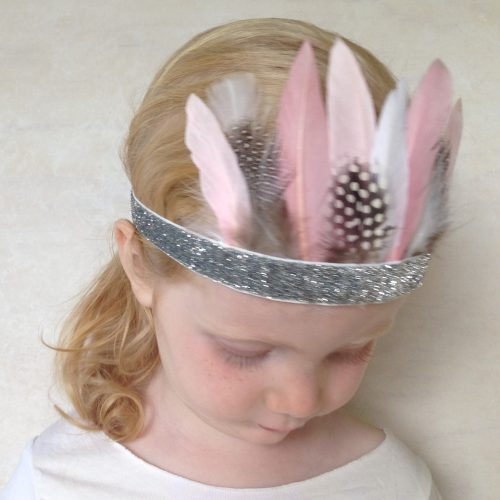 Girls Pink Feather Crown Headband