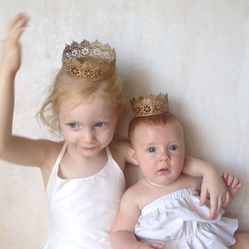 baby girls gold lace crown headband