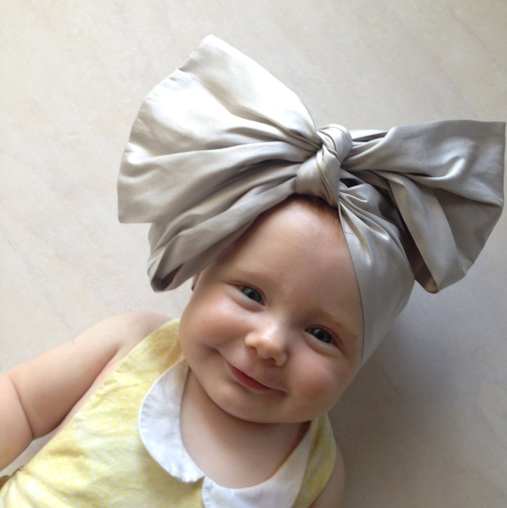 silver silk top knot head wrap