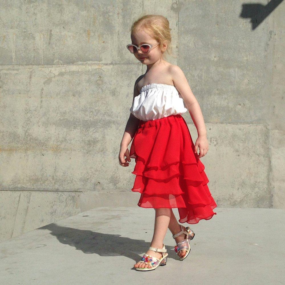 girls flamenco skirt ferrari red