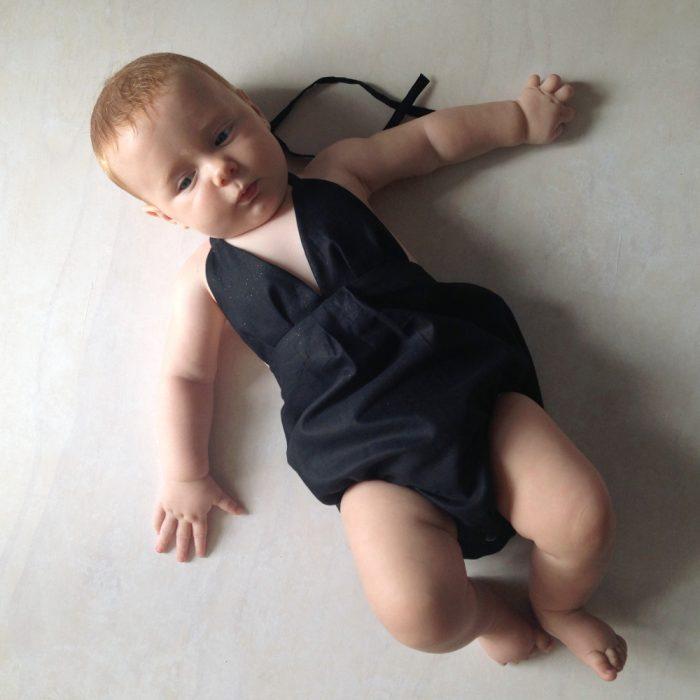 baby girls little black onesie playsuit rompe