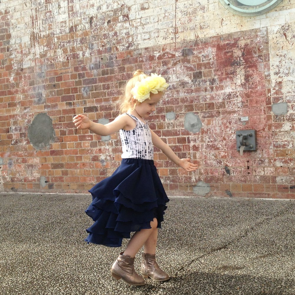 girls navy blue party flamenco skirt