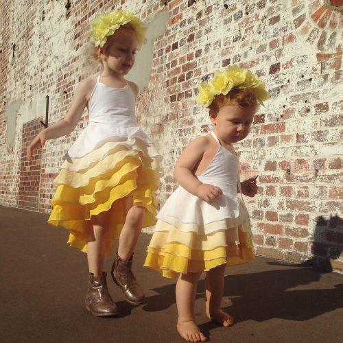 girls gold flamenco part dress