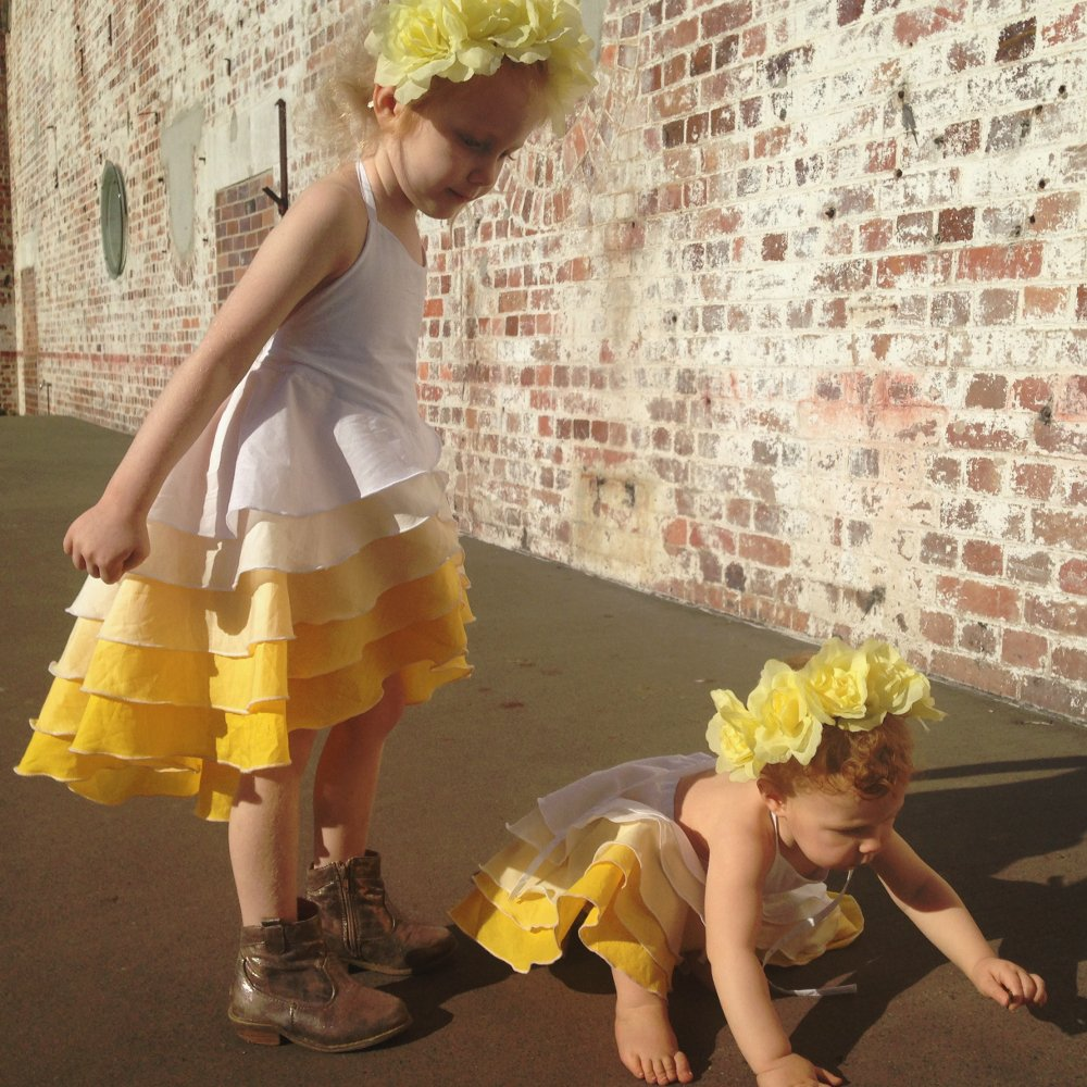 girls gold yellow ombre party flamenco dress