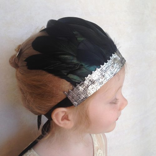 girls black feather crown headdress
