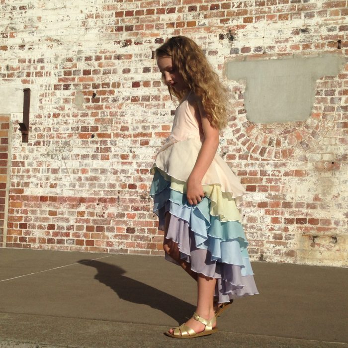 girls rainbow party flamenco dress made to order
