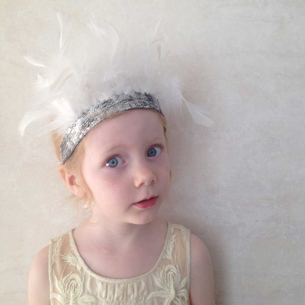 girls white feather crown