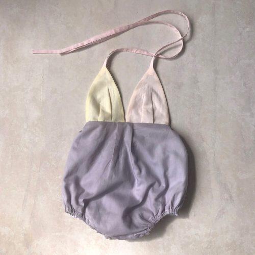 halter onesie in lilac