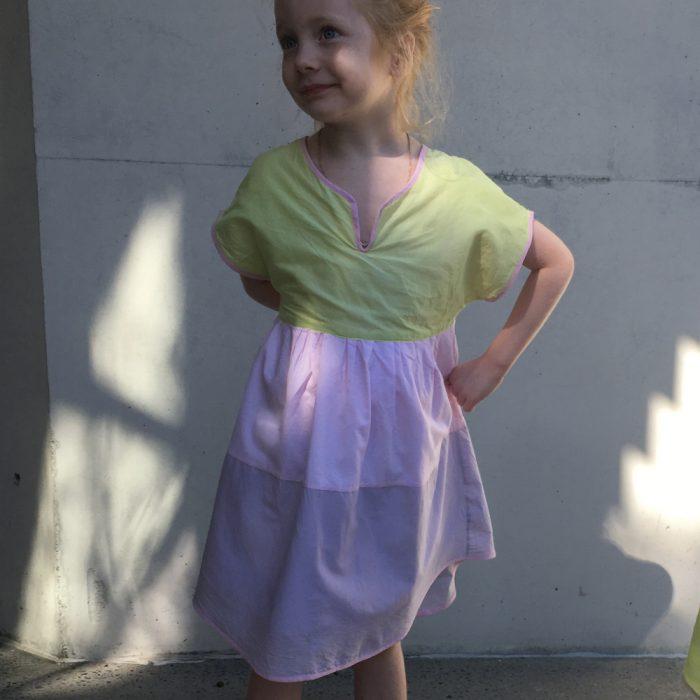 girls party colour block pink dress