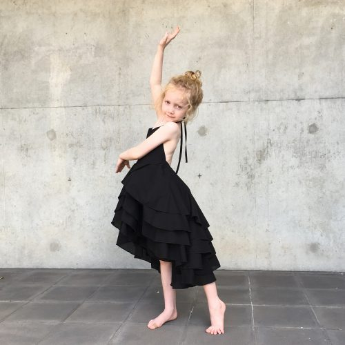 girls black flamenco party dress