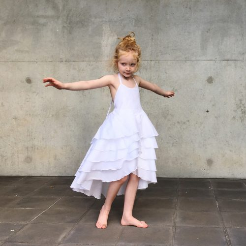 flamenco dress white party flower girl