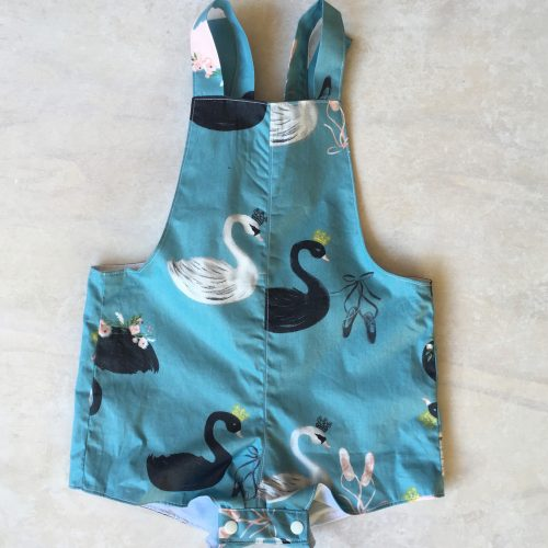 baby girls blue swan overalls