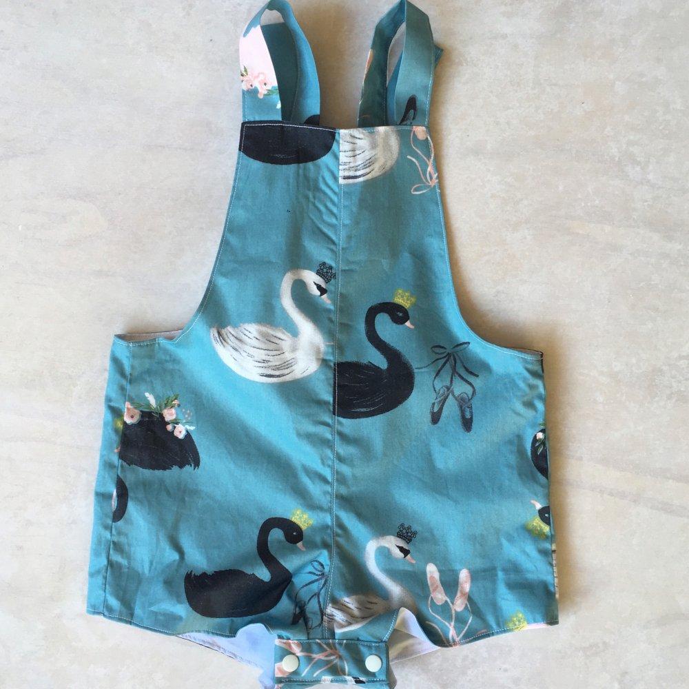 baby girls blue swan overalls