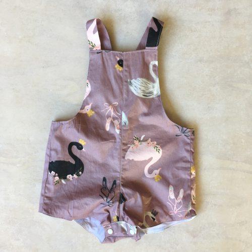 baby girls pink swan overalls rompers