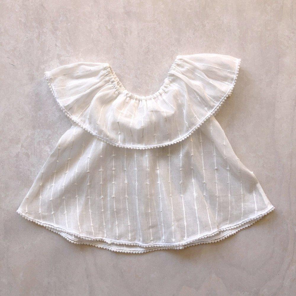 shoulder frill blouse